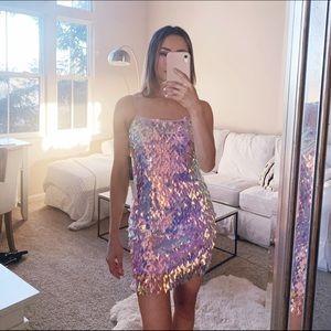 Lulus Rainbow Sequin Party Dress